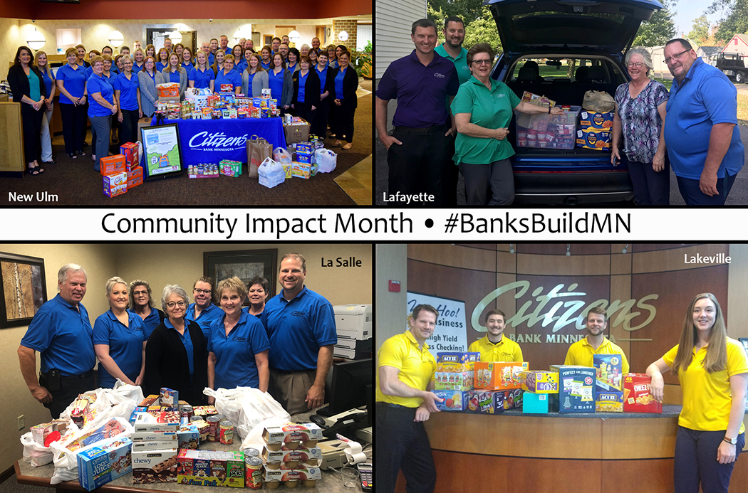 Community Impact Month #BanksBuildMN with pictures of bank employees in community